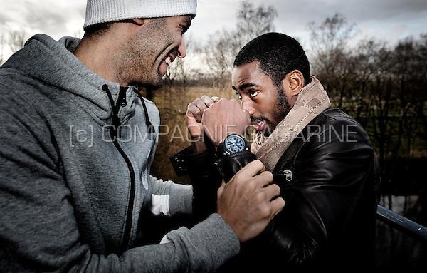 "Ivorian footballer Boubacar ""Copa"" Barry with Tunisian football striker Hamdi Harbaoui (Belgium, 17/12/2012)"
