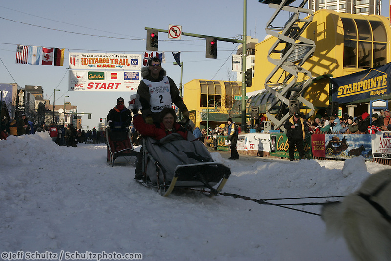 March 3, 2007   Perry Solomonson leaves the start line during the Iditarod ceremonial start day in Anchorage