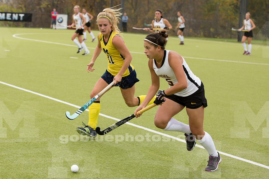 Michigan midfielder Veerle Lubbers (11) is seen in action during the University of Michigan women's field hockey team's 1-0 overtime win against Iowa at the Big Ten Tournament in Bloomington, Ind. on Thursday, Nov. 5, 2015. (Photo by James Brosher)