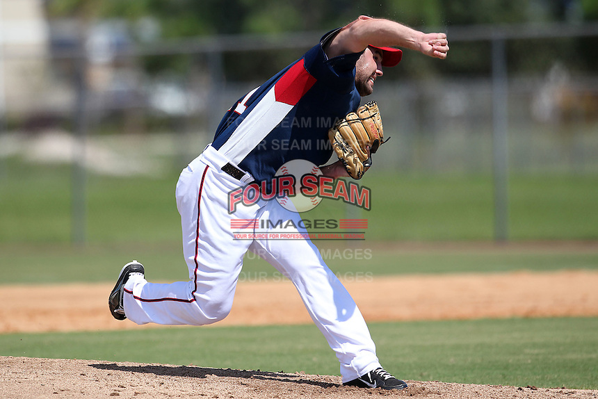 Washington Nationals pitcher Nathan Karns #13 during an Instructional League game against the national team from Italy at Carl Barger Training Complex on September 28, 2011 in Viera, Florida.  (Mike Janes/Four Seam Images)