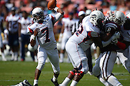 September 7, 2013  (Washington, DC)  Howard's Greg McGhee (QB) #7 throws a pass in the 2013 AT&T Nations Football Classic between the Howard Bison and Morehouse College Maroon Tigers.  (Photo by Don Baxter/Media Images International)