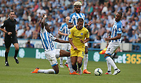 Chelsea's Eden Hazard is tackled by Huddersfield Town's Terence Kongolo <br /> <br /> Photographer Stephen White/CameraSport<br /> <br /> The Premier League - Huddersfield Town v Chelsea - Saturday August 11th 2018 - The John Smith&rsquo;s Stadium<br />  - Huddersfield<br /> <br /> World Copyright &copy; 2018 CameraSport. All rights reserved. 43 Linden Ave. Countesthorpe. Leicester. England. LE8 5PG - Tel: +44 (0) 116 277 4147 - admin@camerasport.com - www.camerasport.com