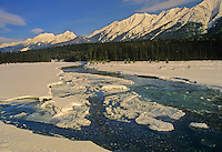 Ice on Kootenay River. Mitchell Range<br /> Kootenay National Park<br /> British Columbia<br /> Canada