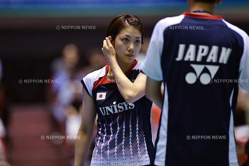 Reiko Shiota (JPN), .SEPTEMBER 21, 2012 - Badminton : Yonex Open Japan 2012 Mixed Doubles at 1st Yoyogi Gymnasium, Tokyo, Japan. (Photo by Jun Tsukida/AFLO SPORT) [0003].