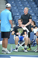 FLUSHING NY- AUGUST 28: Andy Murray and his coach Ivan Lendl on the practice court at the USTA Billie Jean King National Tennis Center on August 28, 2016 in Flushing Queens. Photo by MPI04 / MediaPunch