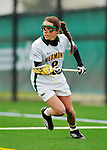 21 April 2012: University of Vermont Catamount attacker Allison Pfohl, a Senior from Niskayuna, NY, in action against the Binghamton University Bearcats at Virtue Field in Burlington, Vermont. The Lady cats defeated the visiting Lady Bearcats 12-7. Mandatory Credit: Ed Wolfstein Photo