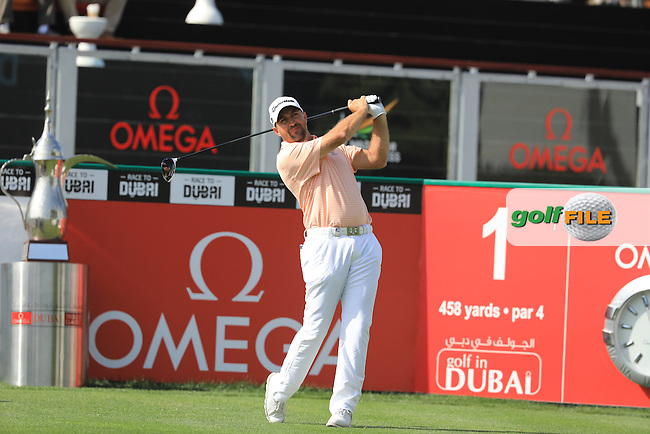 Darren Fichardt (RSA) on the 1st during the final round of the Omega Dubai Desert Classic, Emirates Golf Club, Dubai,  United Arab Emirates. 05/02/2017<br /> Picture: Golffile   Fran Caffrey<br /> <br /> <br /> All photo usage must carry mandatory copyright credit (&copy; Golffile   Fran Caffrey)