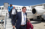 FC Luzern v St Johnstone...16.07.14  Europa League 2nd Round Qualifier<br /> Manager Tommy Wright steps off the plane at Basel in Switzerland ahead of tomorrow's game against FC Luzern<br /> Picture by Graeme Hart.<br /> Copyright Perthshire Picture Agency<br /> Tel: 01738 623350  Mobile: 07990 594431
