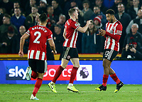 24th November 2019; Bramall Lane, Sheffield, Yorkshire, England; English Premier League Football, Sheffield United versus Manchester United; Lys Mousset of Sheffield United celebrates with John Lundstram  of Sheffield United after he scores in the 52nd minute to make it 2-0  - Strictly Editorial Use Only. No use with unauthorized audio, video, data, fixture lists, club/league logos or 'live' services. Online in-match use limited to 120 images, no video emulation. No use in betting, games or single club/league/player publications