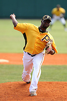 Pittsburgh Pirates pitcher Shairon Martis #66 delivers a pitch during a spring exhibition game against the Netherlands National Team at the Al Lang Field on March 12, 2012 in St. Petersburg, Florida.  (Mike Janes/Four Seam Images)