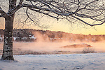 A winter sunrise on the Taunton River in Hancock, ME, USA