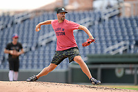 "Boston Red Sox pitcher Heath Hembree throws in a ""Sandlot""-style game on Thursday, June 25, 2020, at Fluor Field at the West End in Greenville, South Carolina. Team workouts have been shut down during the coronavirus pandemic, so this group began working out in game situation simulations a couple of days a week. Hembree has spent seven seasons in the majors, mostly with Boston. He has played with Broome High, Spartanburg Methodist and College of Charleston. (Tom Priddy/Four Seam Images)"