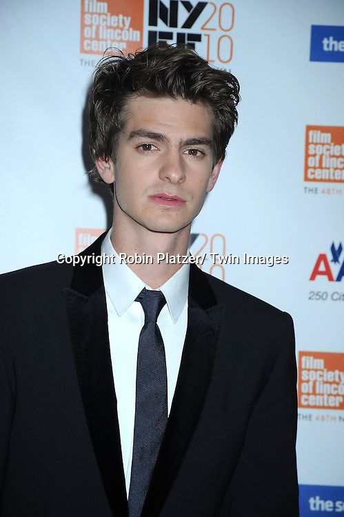 "actor Andrew Garfield  posing for photographers at the Opening Night of The New York Film Festival's world premiere of ""The Social Network"" on September24, 2010 at Alice Tully Hall in New York City."