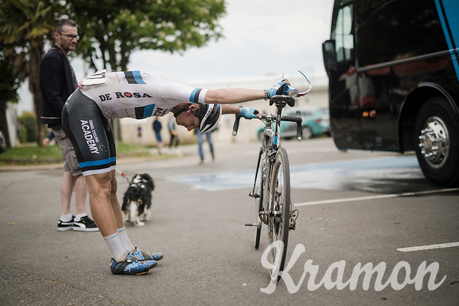 Mihkel Raïm's (EST/Israel Cycling Academy) post-race stretch<br /> <br /> 36th TRO BRO LEON 2019 (FRA)<br /> One day race from Plouguerneau to Lannilis (205km)<br /> <br /> ©kramon