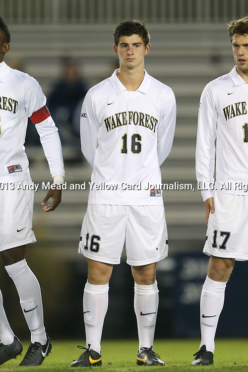 25 October 2013: Wake Forest's Ian Harkes. The Duke University Blue Devils hosted the Wake Forest University Demon Deacons at Koskinen Stadium in Durham, NC in a 2013 NCAA Division I Men's Soccer match. The game ended in a 2-2 tie after two overtimes.