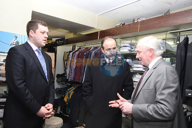 James Allen meets Fianna Fails Micheál Martin and Thomas Byrne canvassing in Kells....(Photo credit should read Jenny Matthews www.newsfile.ie)....This Picture has been sent you under the conditions enclosed by:.Newsfile Ltd..The Studio,.Millmount Abbey,.Drogheda,.Co Meath..Ireland..Tel: +353(0)41-9871240.Fax: +353(0)41-9871260.GSM: +353(0)86-2500958.email: pictures@newsfile.ie.www.newsfile.ie.