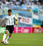 24 June 2006: Javier Saviola (ARG) dribbles down the field with lots of obvious Argentine support behind him. Argentina (1st place in Group C) defeated Mexico (2nd place in Group D) 2-1 in overtime at the Zentralstadion in Leipzig, Germany in match 50, a Round of 16 game, in the 2006 FIFA World Cup.