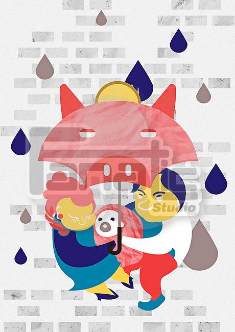 Illustrative image of family under piggybank shaped umbrella representing savings