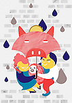 Illustrative image of family under piggybank shaped umbrella representing savings