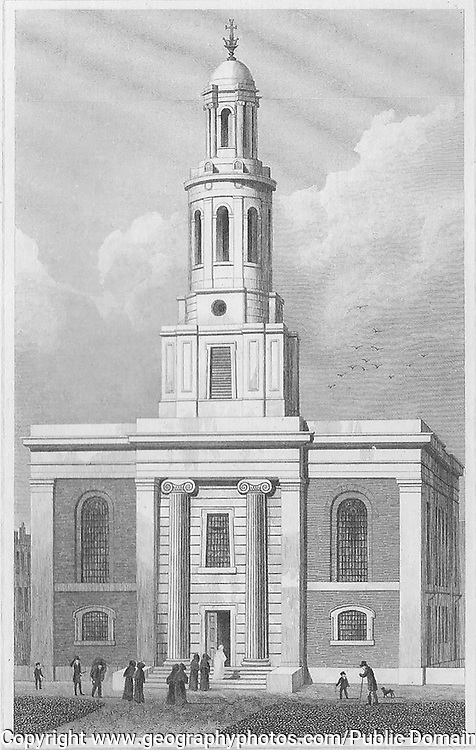 St John's Church, Hoxton,engraving from 'Metropolitan Improvements, or London in the Nineteenth Century' London, England, UK 1828 , drawn by Thomas H Shepherd