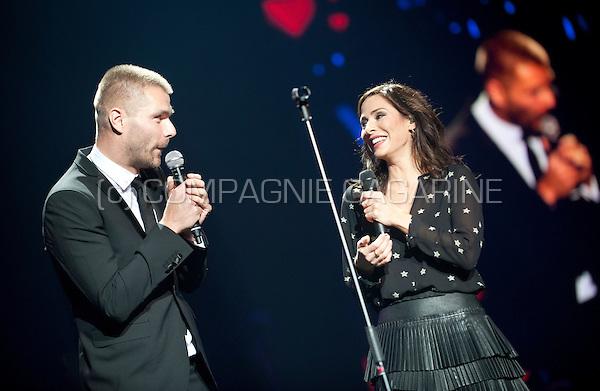 Australian singer Natalie Imbruglia with Belgian host Kobe Ilsen at the Night Of The Proms, in Antwerp (Belgium, 14/11/2015)