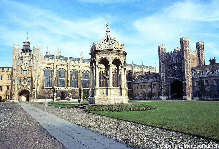 Cambridge: Trinity College--Great Court, canopied Tudor Fountain. Founded 1546 by Henry VIII. Photo '82.