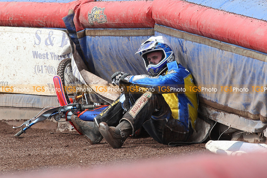 Heat 8: Lukas Dryml of Eastbourne crashes out - Lakeside Hammers vs Eastbourne Eagles - Sky Sports Elite League Speedway at Arena Essex Raceway, Purfleet - 06/04/12 - MANDATORY CREDIT: Gavin Ellis/TGSPHOTO - Self billing applies where appropriate - 0845 094 6026 - contact@tgsphoto.co.uk - NO UNPAID USE.