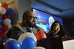 Garden City, New York, USA. November 6, 2018. Nassau County Democrats watch Election Day results at Garden City Hotel, Long Island. KEVIN THOMAS was elected New York State Senator for 6th District.
