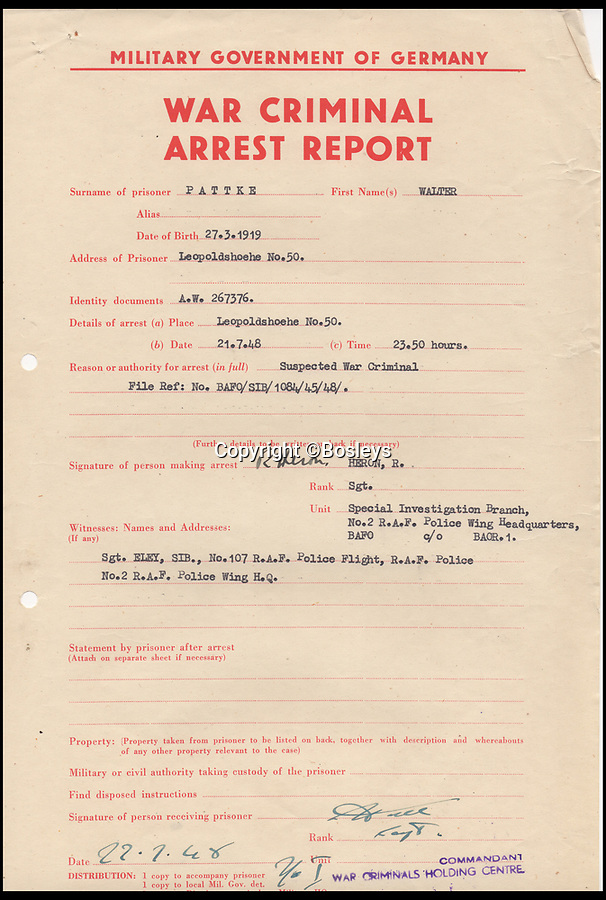 BNPS.co.uk (01202 558833)Pic: Bosleys/BNPS<br /> <br /> Arrest report of one Walter Pattke.<br /> <br /> Paper Trail...Sqn Ldr frank McKenna's meticulous investigation is revealed in the fascinating dossier.<br /> <br /> Remarkable top secret documents relating to the investigation into the murder of 50 prisoners of war who took part in the Great Escape have come to light.<br /> <br /> The papers made up a dossier put together by the RAF Special Investigation Branch which had the job of finding the German killers of the Allied airmen who took part in the high-profile escape.<br /> <br /> The documents, that include custody mugshot photos and fingerprints of Gestapo suspects, have been put up for sale through Bosley's Auctioneers.