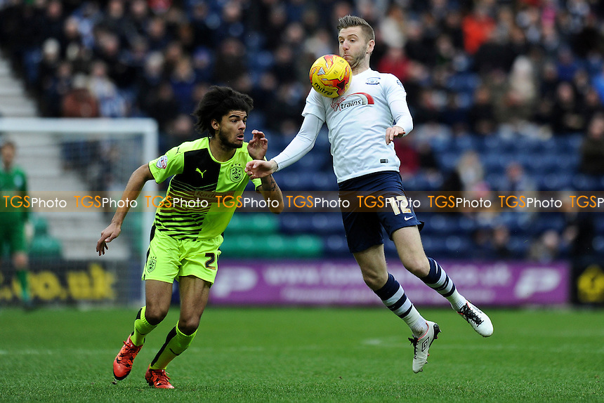 Paul Gallagher of Preston North End vies for the ball with Philip Billing of Huddersfield Town during Preston North End vs Huddersfield Town, Sky Bet Championship Football at Deepdale