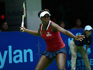 Washington, DC - July 14, 2015: Washington Kastles' Venus Williams plays a forehand in a singles match against Nicole Gibbs of the Austin Aces during week 3 of the World Team Tennis 2015 season, July 14, 2015, at the Kastles' Stadium in the District of Columbia. The Austin Aces won 22-17 over the Kastles. Williams is currently ranked 15th in the world. (Photo by Don Baxter/Media Images International)