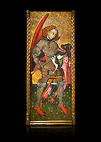 Gothic altarpiece of Archangel Michael ( Sant Miguel Arcangel) by Blasco de Branen of Saragossa, circa 1435-1445 , tempera and gold leaf on for wood.  National Museum of Catalan Art, Barcelona, Spain, inv no: MNAC   114741. Against a black background.