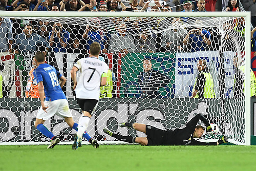 02.07.2016. Bordeaux, France. 2016 European football championships. Quarterfinals match. Germany versus Italy.   Leonardo BONUCCI (ITA) scores from the penalty spot past Neuer for 1:1.
