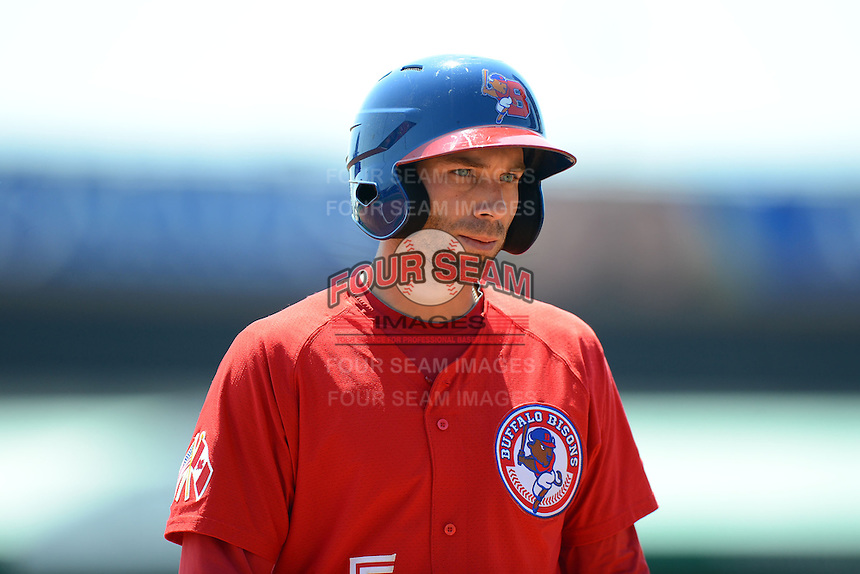 Buffalo Bisons second baseman Jim Negrych #5 during a game against the Charlotte Knights on May 19, 2013 at Coca-Cola Field in Buffalo, New York.  Buffalo defeated Charlotte 11-6.  (Mike Janes/Four Seam Images)
