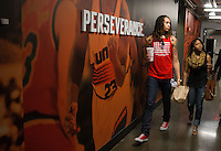 Jun. 10, 2013; Phoenix, AZ, USA: Phoenix Mercury center Brittney Griner (left) walks with her girlfriend through a hallway inside the US Airways Center. Mandatory Credit: Mark J. Rebilas-