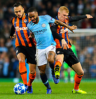 Manchester City's Raheem Sterling battles with Shakhtar Donetsk's Maycon and Viktor Kovalenko<br /> <br /> Photographer Alex Dodd/CameraSport<br /> <br /> UEFA Champions League Group F - Manchester City v Shakhtar Donetsk - Wednesday 7th November 2018 - City of Manchester Stadium - Manchester<br />  <br /> World Copyright © 2018 CameraSport. All rights reserved. 43 Linden Ave. Countesthorpe. Leicester. England. LE8 5PG - Tel: +44 (0) 116 277 4147 - admin@camerasport.com - www.camerasport.com