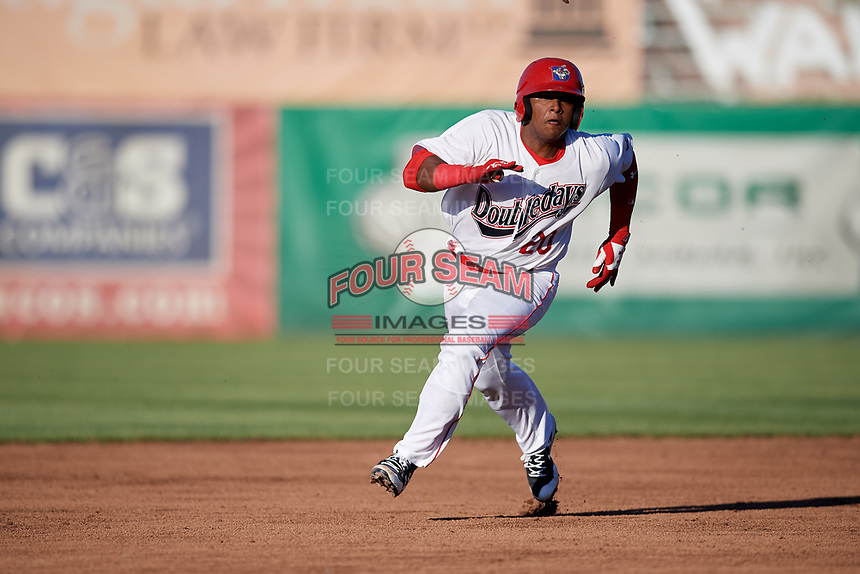 Auburn Doubledays catcher Israel Pineda (20) runs the bases during a game against the Batavia Muckdogs on June 15, 2018 at Falcon Park in Auburn, New York.  Auburn defeated Batavia 5-1.  (Mike Janes/Four Seam Images)