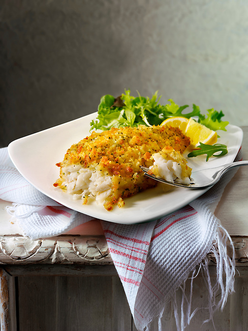 Lightly battered sole & Salad food
