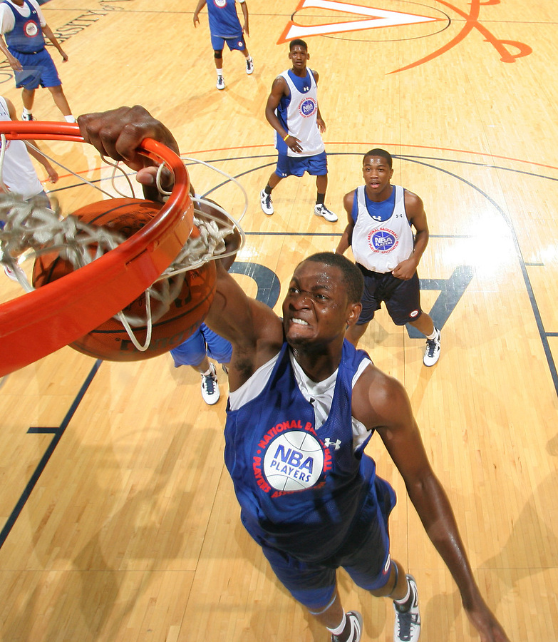 Joseph Uchebo at the NBPA Top100 camp at the John Paul Jones Arena Charlottesville, VA. Visit www.nbpatop100.blogspot.com for more photos. (Photo © Andrew Shurtleff)