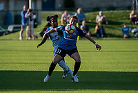 Kansas City, MO - Sunday May 07, 2017: Jasmyne Spencer, Christina Gibbons during a regular season National Women's Soccer League (NWSL) match between FC Kansas City and the Orlando Pride at Children's Mercy Victory Field.