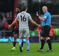 West Ham United's skipper Mark Noble disputes a challenge with referee Simon Hooper<br /> <br /> Photographer David Horton/CameraSport<br /> <br /> The Premier League - Bournemouth v West Ham United - Saturday 19 January 2019 - Vitality Stadium - Bournemouth<br /> <br /> World Copyright © 2019 CameraSport. All rights reserved. 43 Linden Ave. Countesthorpe. Leicester. England. LE8 5PG - Tel: +44 (0) 116 277 4147 - admin@camerasport.com - www.camerasport.com