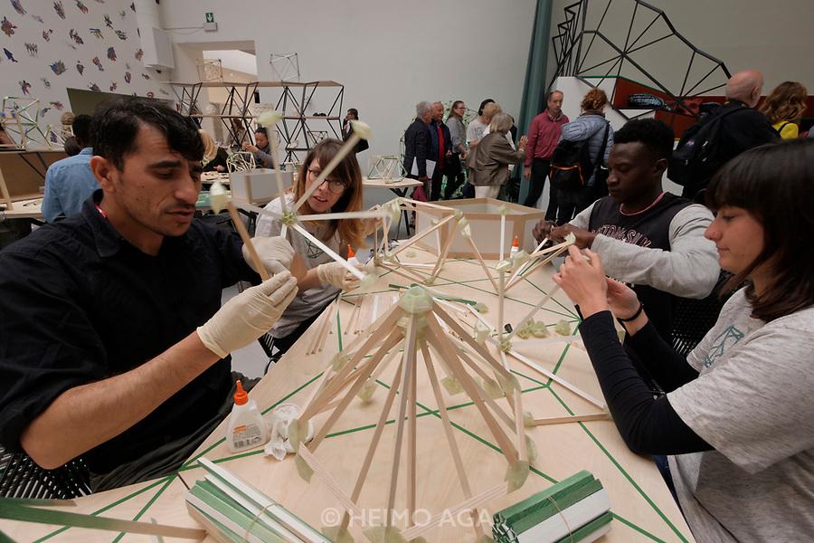 57th Art Biennale in Venice - Viva Arte Viva. Giardini.<br /> International Pavillion.<br /> Olafur Eliasson, Green light. An artistic workshop