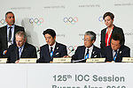 (L to R) <br />  Jacques Rogge, <br />  Shinzo Abe, <br /> Tsunekazu Takeda, <br />  Naoki Inose, <br /> SEPTEMBER 7, 2013 : <br /> A press conference after Tokyo was announced as the winning city bid for the 2020 Summer Olympic Games at the 125th International Olympic Committee (IOC) session in Buenos Aires Argentina, on Saturday September 7, 2013. (Photo by YUTAKA/AFLO SPORT) [1040]