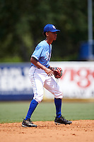 Shortstop Justin Walker Jr (11) of Lafayette Jefferson High School in Lafayette, Indiana playing for the Kansas City Royals scout team during the East Coast Pro Showcase on August 3, 2016 at George M. Steinbrenner Field in Tampa, Florida.  (Mike Janes/Four Seam Images)