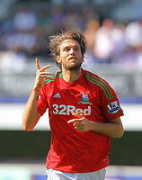 FAO SPORTS PICTURE DESK<br /> Pictured: Michu of Swansea celebrating his second goal. Saturday 18 August 2012<br /> Re: Barclay's Premier League, Queens Park Rangers v Swansea City FC at Loftus Road Stadium, London, UK.