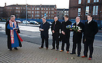 Memorial to the victims of the Ibrox disaster of 1971 at the John Greig Statue, Ibrox Stadium:<br /> Rev Stuart MacQuarrie with Jim Hannah, Kenny McDowall, James Easdale, Colin Stein and Sandy Easdale