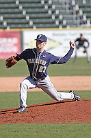 University of Pittsburgh pitcher Andrew Belfiglio #27 on the mound during a game against the Coastal Carolina University Chanticleers at Ticketreturn.com Field at Pelicans Ballpark on February 16, 2014 in Myrtle Beach, South Carolina. Pittsburgh defeated Coastal Carolina by the score of 10-6. (Robert Gurganus/Four Seam Images)