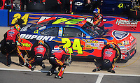 Oct 5, 2008; Talladega, AL, USA; NASCAR Sprint Cup Series driver Jeff Gordon pits after crashing during the Amp Energy 500 at the Talladega Superspeedway. Mandatory Credit: Mark J. Rebilas-