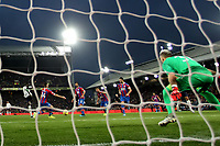 23rd November 2019; Selhurst Park, London, England; English Premier League Football, Crystal Palace versus Liverpool; Sadio Mane of Liverpool shoots and scores for 0-1 in the 42nd minute - Strictly Editorial Use Only. No use with unauthorized audio, video, data, fixture lists, club/league logos or 'live' services. Online in-match use limited to 120 images, no video emulation. No use in betting, games or single club/league/player publications