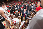 Wisconsin Badgers Head Coach Greg Gard talks to his players during a timeout during an NCAA men's college basketball game against the Florida A&M Rattlers Friday, December 23, 2016, in Madison, Wis. The Badgers won 90-37. (Photo by David Stluka)